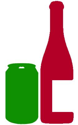 Vinflaska och ölburk